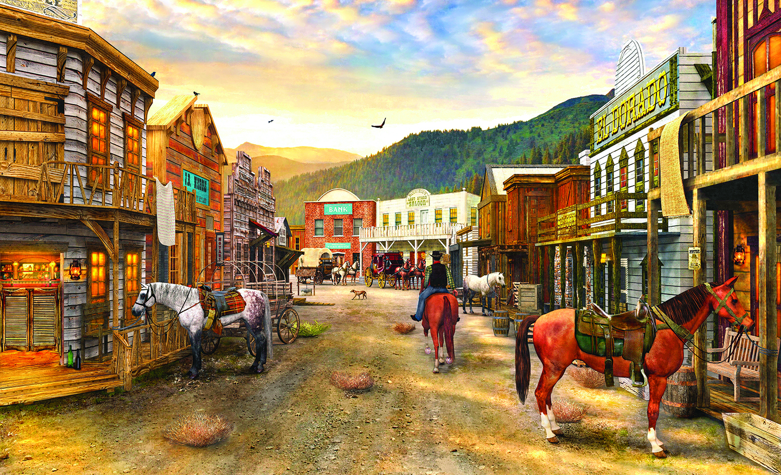 Wild West Town 550 pc Jigsaw Puzzle by SunsOut
