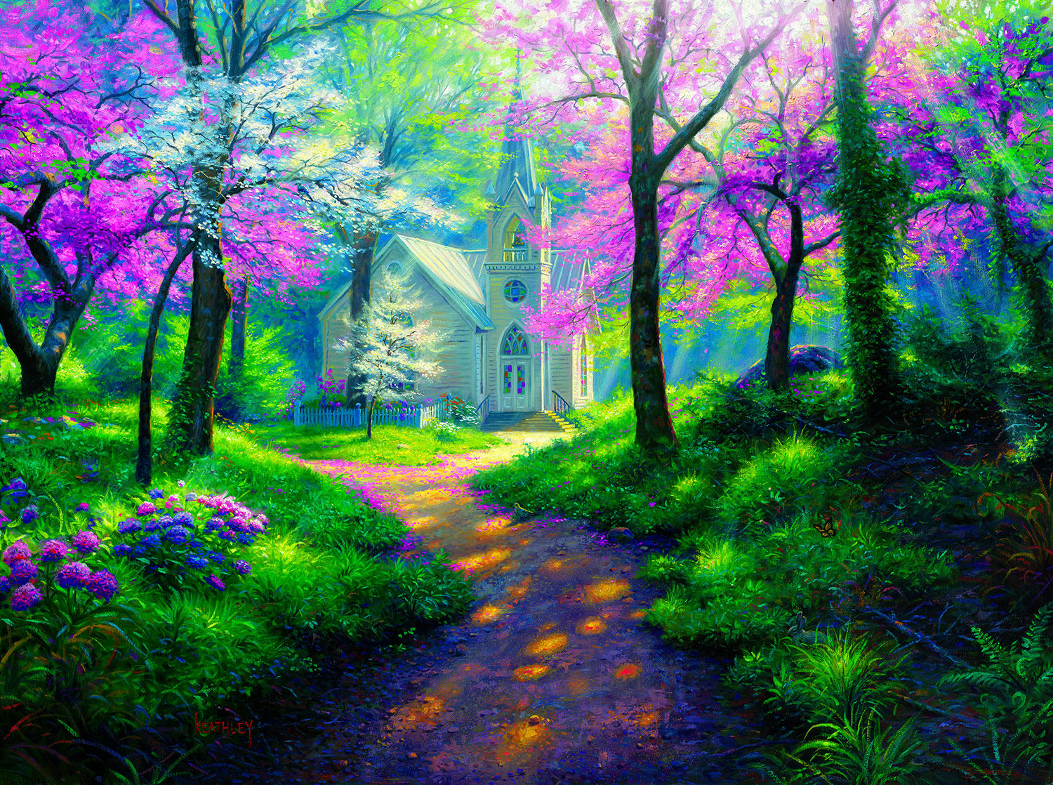 Spring Chapel 1000 pc Jigsaw Puzzle by SunsOut