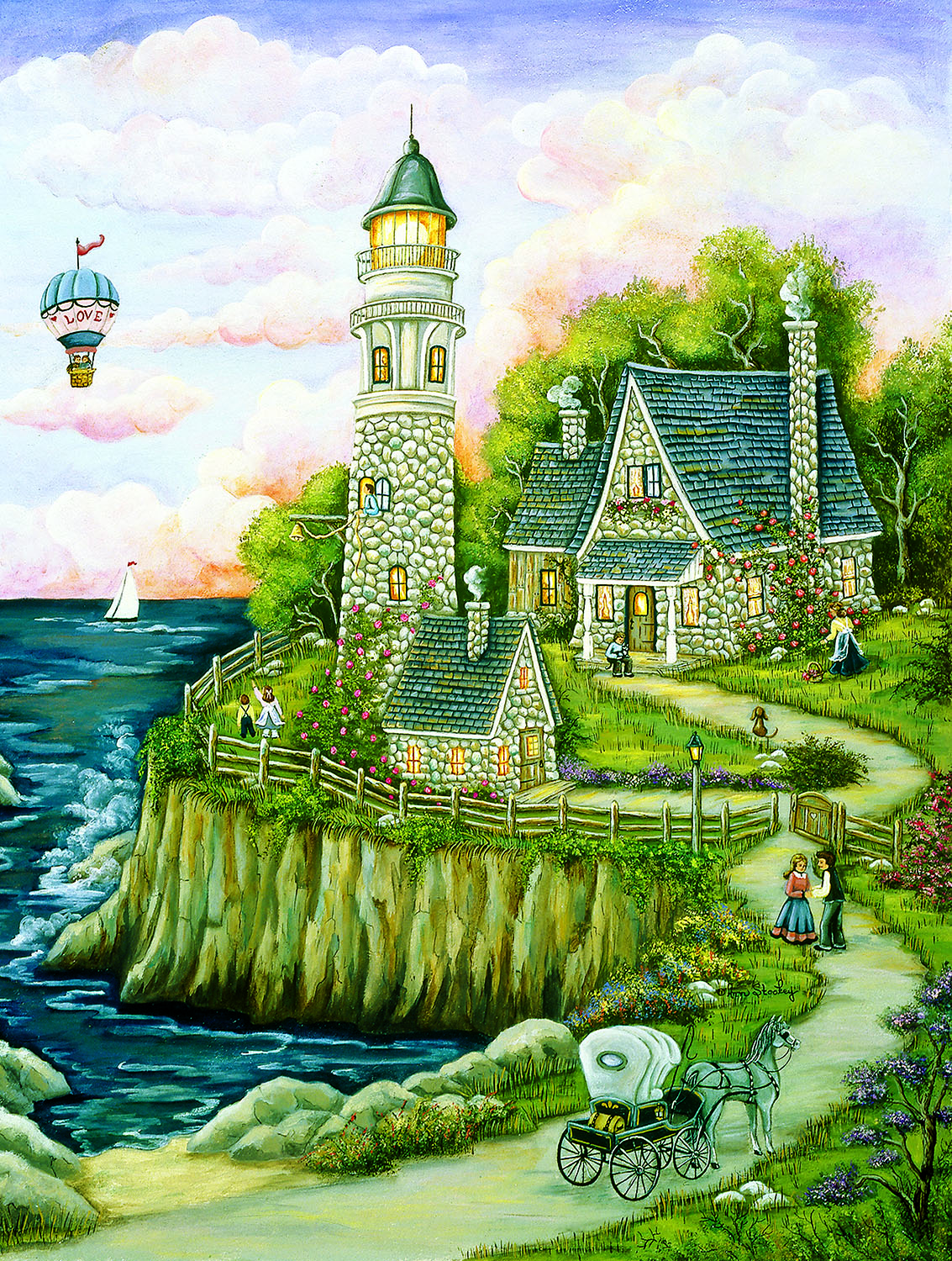 Love Lighthouse 500 pc Jigsaw Puzzle by SunsOut