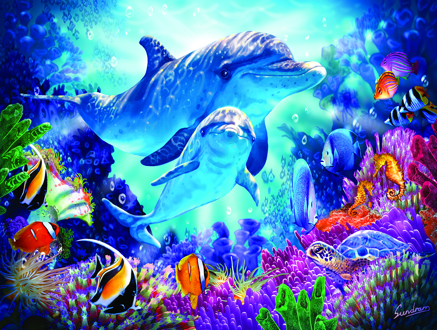 Dolphin Guardian 500 pc Jigsaw Puzzle by SunsOut