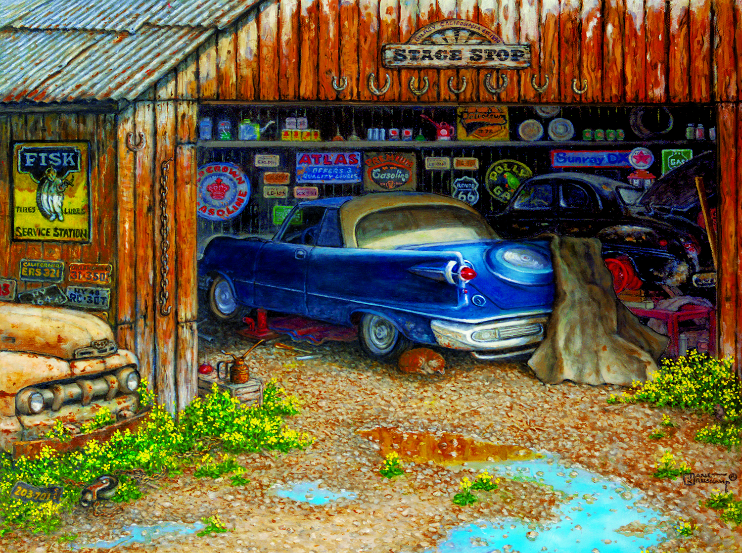 The Collector's Garage 1000 pc Jigsaw Puzzle by SunsOut