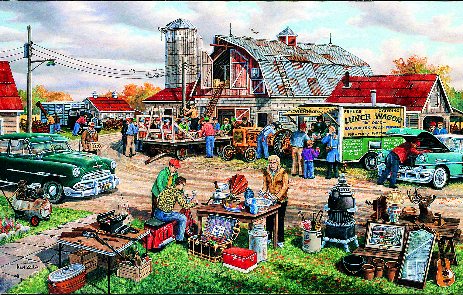 Country Yard Sale 100 pc Jigsaw Puzzle by SunsOut