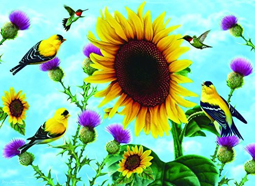 SunsOut Sunflowers and Songbirds 500+ pc Large Piece Jigsaw Puzzle