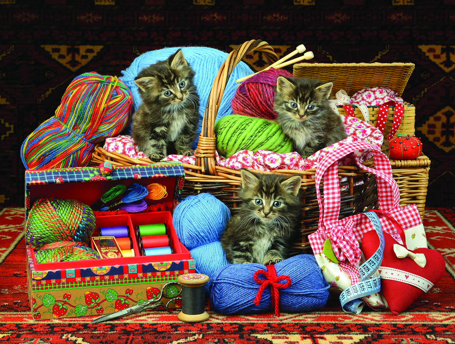 Kittens in the Basket 500 Pc Jigsaw Puzzle by SunsOut Inc.
