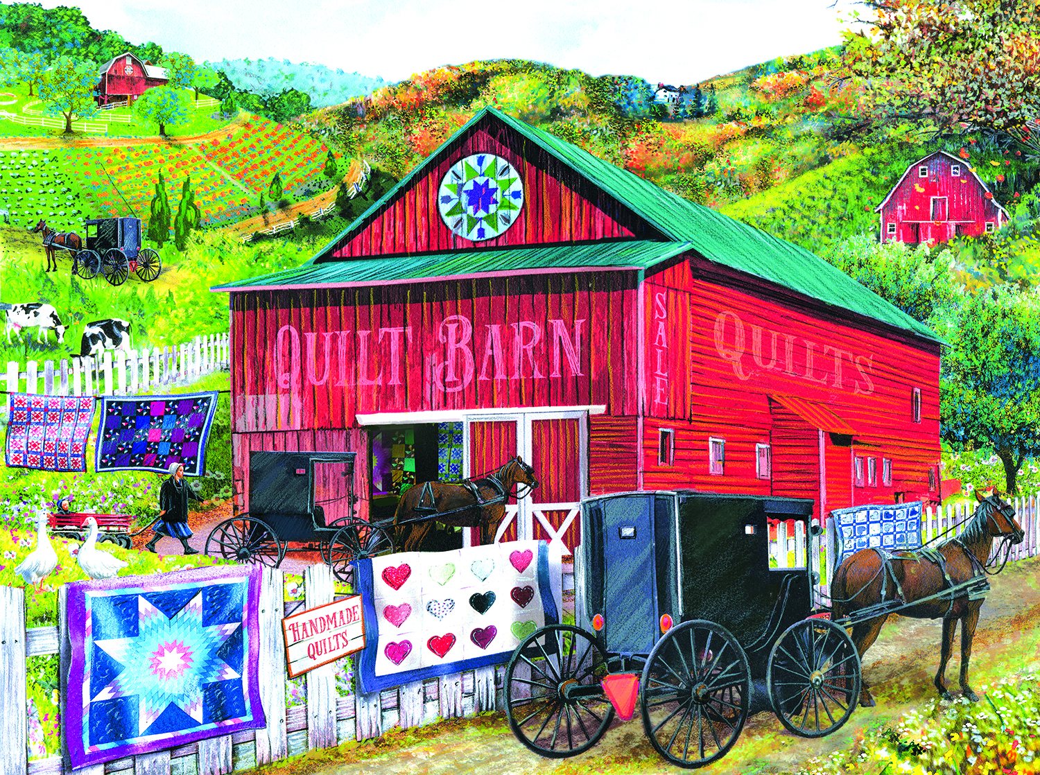 Stopping at The Quilt Barn 1000 pc Jigsaw Puzzle by SunsOut