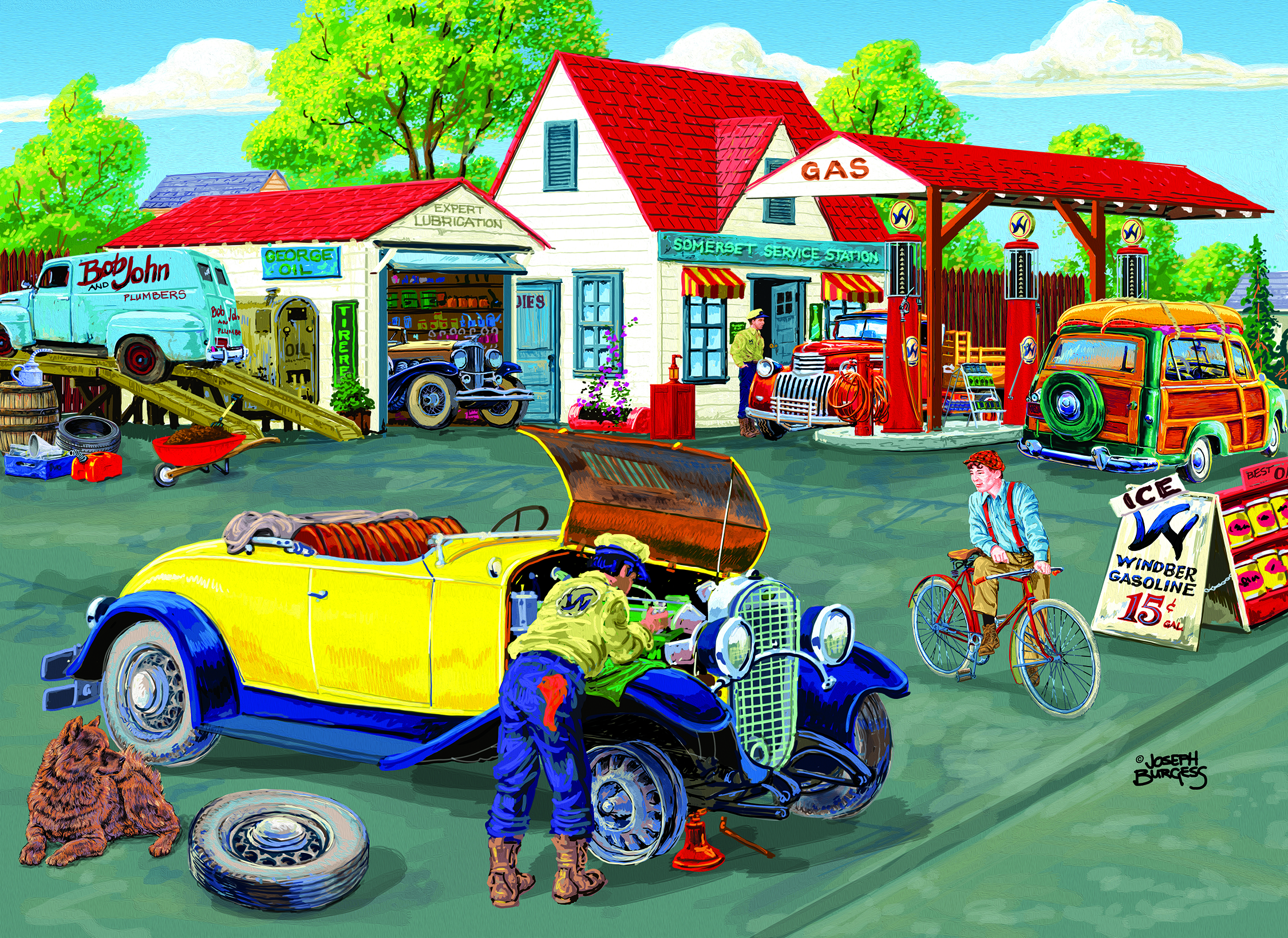 Somerset Service Station (Large Piece) 500 pc Jigsaw Puzzle by SunsOut - Large Oversized Easy to Grasp Puzzle Pieces