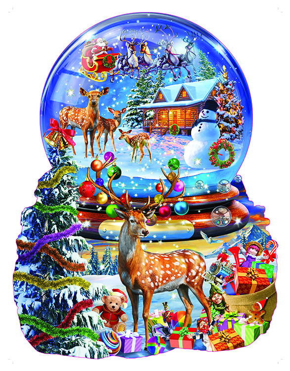Christmas Snow Globe Shaped 1000 Pc Jigsaw Puzzle by SunsOut Inc.